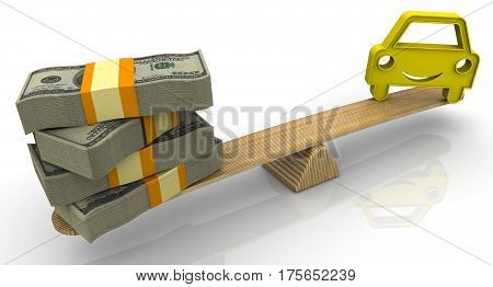 Evaluation of the cost of a car. Money (stack of packs of 100 dollar American bills tied with a ribbon) and the symbol of a vehicle weighed in the balance. Financial concept. Isolated. 3D Illustration