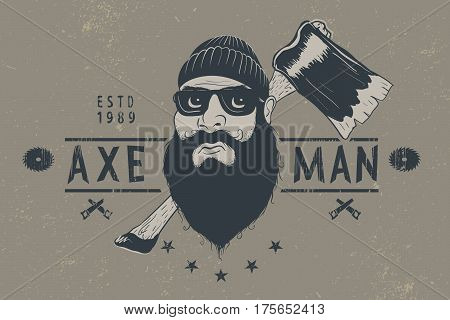 Bearded lumberjack with ax .Vintage vector label.Prints design for t-shirts
