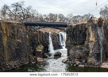 A scenic view of the Great Falls of Paterson in New Jersey.