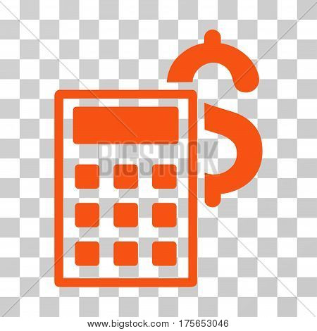 Business Calculator icon. Vector illustration style is flat iconic symbol, orange color, transparent background. Designed for web and software interfaces.
