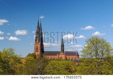 The Uppsala Cathedral is a cathedral located in the centre of Uppsala Sweden. The cathedral dates back to the late 13th century. View from Uppsala castle