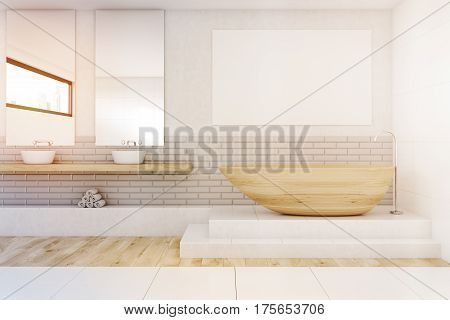 Bathroom With Two Mirrors And Poster, Toned