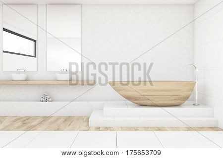 Bathroom With Two Mirrors, Wood And White