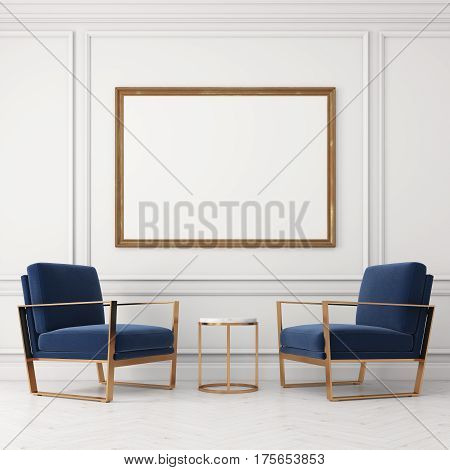 Two Blue Armchairs And A Poster