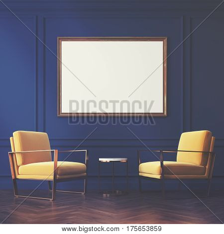Two Yellow Armchairs And A Poster, Toned