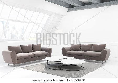 Two Gray Sofas And A Table, Side View