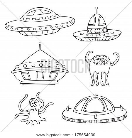 Card with space objects: ufo rockets, aliens. Hand-drawn elements in space theme isolated on white
