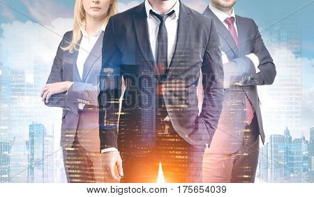 Business trio in a morning city. Close up of two businessmen and a businesswoman standing together against a cityscape. 3d rendering double exposure toned image