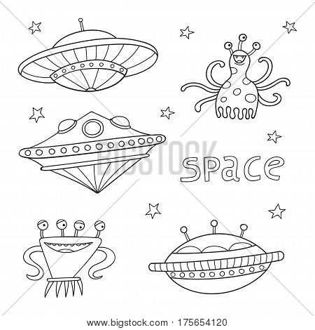 Card with space objects: ufo rockets, aliens and stars. Hand-drawn elements in space theme in sketch style