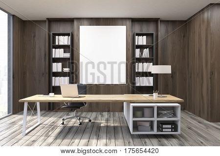 Ceo Office With Dark Wooden Walls