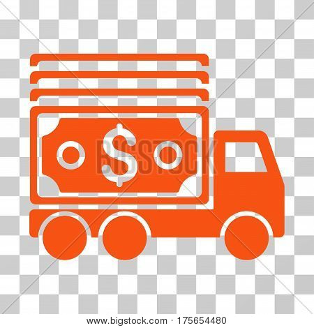 Cash Lorry icon. Vector illustration style is flat iconic symbol, orange color, transparent background. Designed for web and software interfaces.
