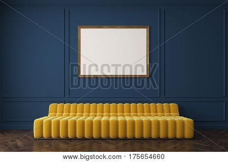 Yellow Sofa Against Dark Blue Wall, Poster