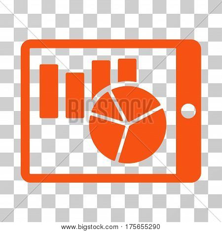 Charts On PDA icon. Vector illustration style is flat iconic symbol, orange color, transparent background. Designed for web and software interfaces.