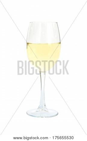 White wine glass isolated on background, cut