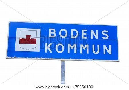 Boden Sweden - July 23 2016: The border sign for the Boden municipal located in the north of Sweden.