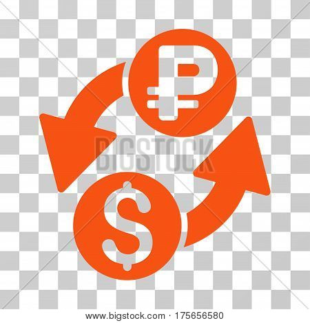 Dollar Rouble Exchange icon. Vector illustration style is flat iconic symbol, orange color, transparent background. Designed for web and software interfaces.