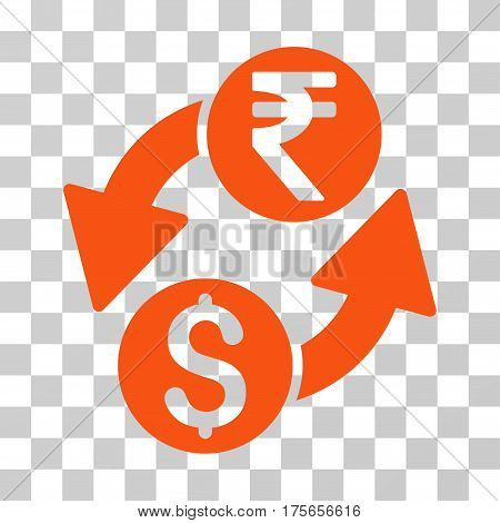 Dollar Rupee Exchange icon. Vector illustration style is flat iconic symbol, orange color, transparent background. Designed for web and software interfaces.
