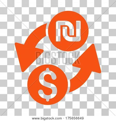 Dollar Shekel Exchange icon. Vector illustration style is flat iconic symbol, orange color, transparent background. Designed for web and software interfaces.