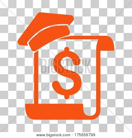 Education Invoice icon. Vector illustration style is flat iconic symbol, orange color, transparent background. Designed for web and software interfaces.