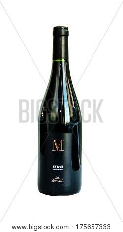 SAINT-PETERSBURG, RUSSIA - January 2017: Red wine bottle Syrah Montagnac isolated on white background. The brand Vin de France. Editorial use only.
