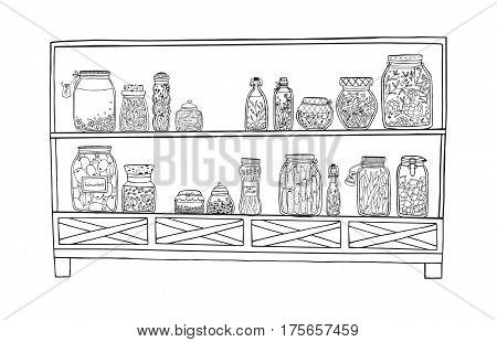 Autumn marinated food. Rack with pickled jars with vegetables, fruits, herbs and berries on shelves. Contour Illustration.