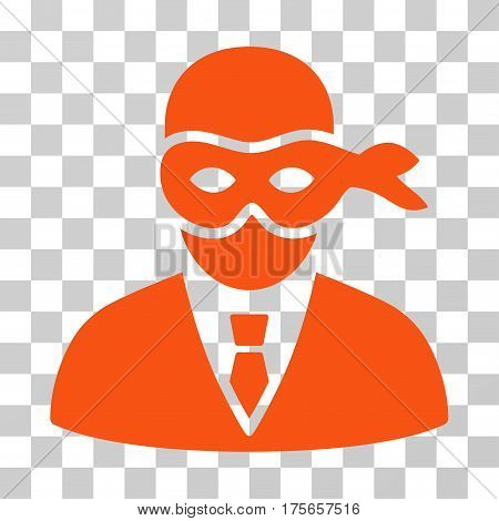 Masked Thief icon. Vector illustration style is flat iconic symbol, orange color, transparent background. Designed for web and software interfaces.