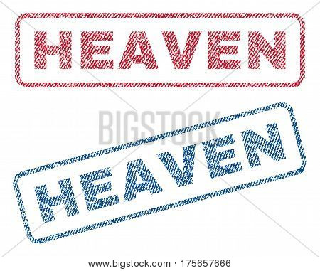 Heaven text textile seal stamp watermarks. Blue, red fabric vectorized texture. Vector caption inside rounded rectangular shape. Rubber emblem with fiber textile structure.