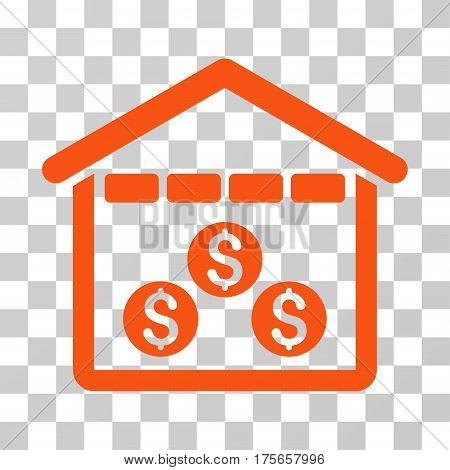 Money Depository icon. Vector illustration style is flat iconic symbol, orange color, transparent background. Designed for web and software interfaces.
