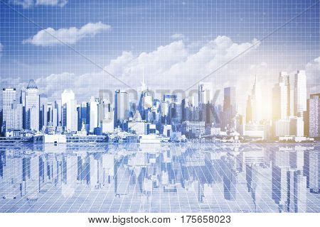 Abstract city with reflection sky view and sunlight on mesh background. Urbanization concept. 3D Rendering