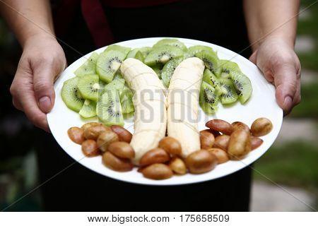 A closeup of fruit plate