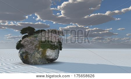 White Sands with Rock Islands Oasis  3D Render