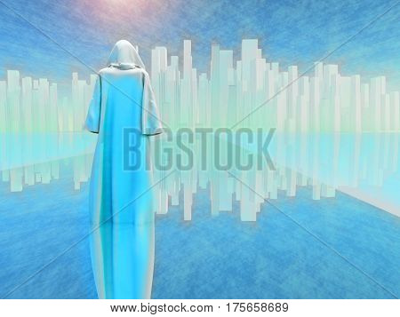 White robed traveler journeys to holy city   3D Render