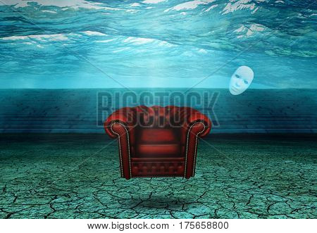 White Mask and armchair floats in desert ruins   3D Render