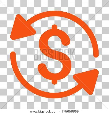 Money Turnover icon. Vector illustration style is flat iconic symbol, orange color, transparent background. Designed for web and software interfaces.