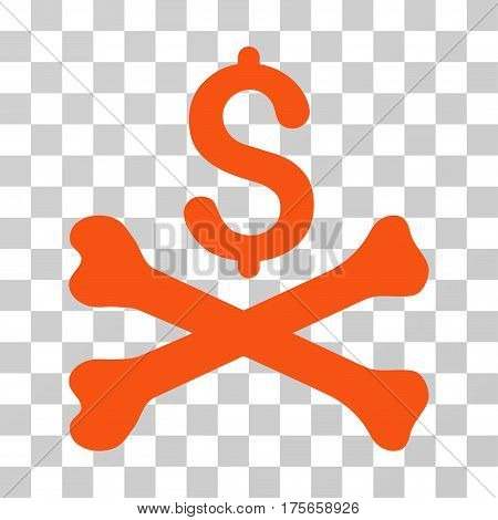 Mortal Debt icon. Vector illustration style is flat iconic symbol, orange color, transparent background. Designed for web and software interfaces.