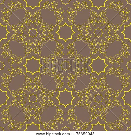 Vector abstract Repeating vintage Gold pattern on a bronze background