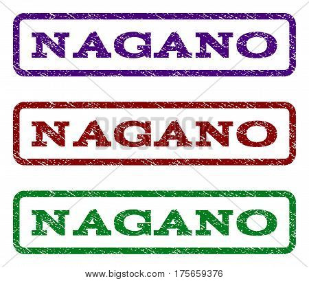 Nagano watermark stamp. Text tag inside rounded rectangle with grunge design style. Vector variants are indigo blue, red, green ink colors. Rubber seal stamp with dust texture.