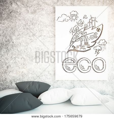 Close up of pillows and poster with eco sketch on concrete wall background. Environment concept. 3D Rendering