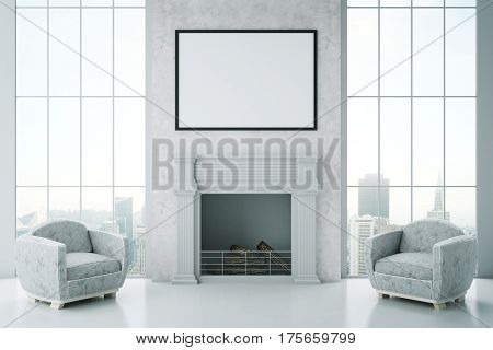 Front view of luxurious interior with blank picture frame fireplace two armchairs and city view. Mock up 3D Rendering