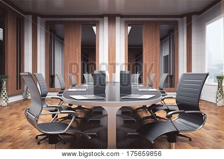 Side view of luxurious boardroom with furniture and equipment. Negotiations concept. 3D Rendering