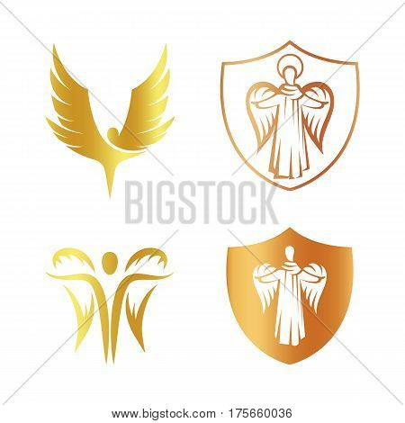 Isolated golden color angel silhouette logo set, shield with religious element logotype collection, coat of arm with archangel vector illustrations on white