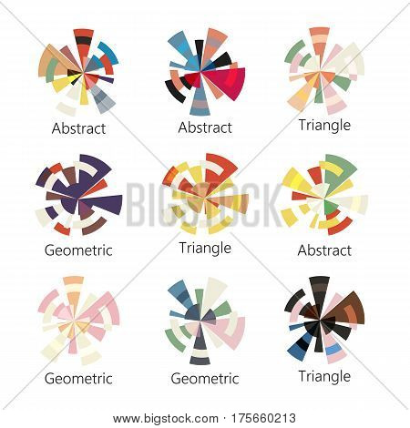 Isolated abstract colorful round shape logo of triangles set on white background, diagram icons collection, geometric elements vector illustration.