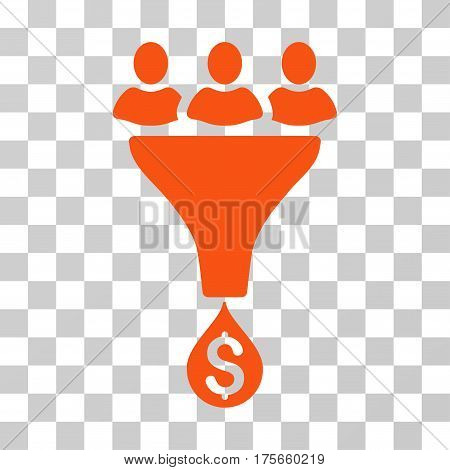 Sales Funnel icon. Vector illustration style is flat iconic symbol, orange color, transparent background. Designed for web and software interfaces.