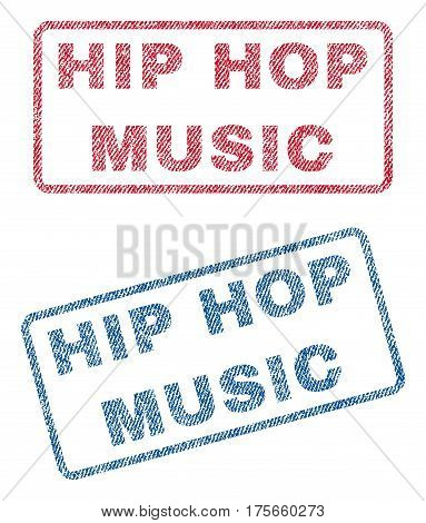 Hip Hop Music text textile seal stamp watermarks. Blue, red fabric vectorized texture. Vector caption inside rounded rectangular shape. Rubber sign with fiber textile structure.