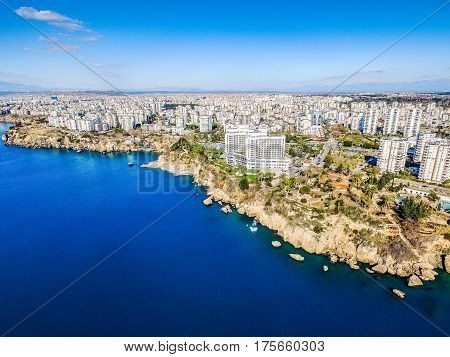 Aerial photograph of Antalya bay in Turkey Taken by Drone