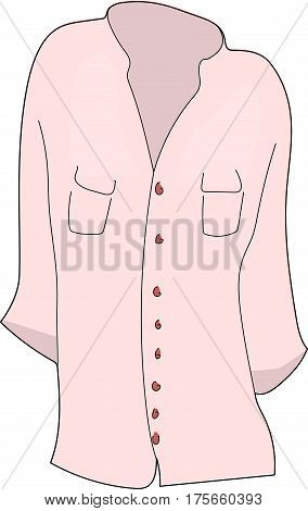 The pink blouse with long sleeves, on a buttons.
