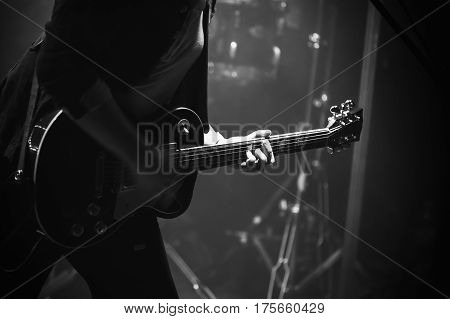 Electric Guitar Player On Stage, Monochrome