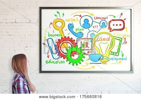 Side portrait of girl looking at frame with colorful business sketch. Brick wall background. Communication concept