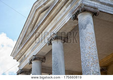 Ionic columns on classical greek roman architecture building.