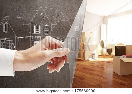 Male hand flipping abstract paper with house sketch revealing new interior design. Mortgage and moving concept. 3D Rendering